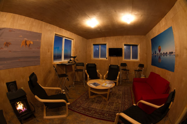 lounge/dining room in arctic expedition cabin