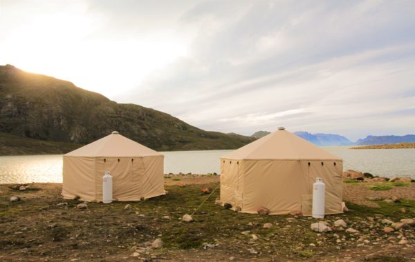 Arctic camp. Yurts. Mountain backgrounds. Beach.