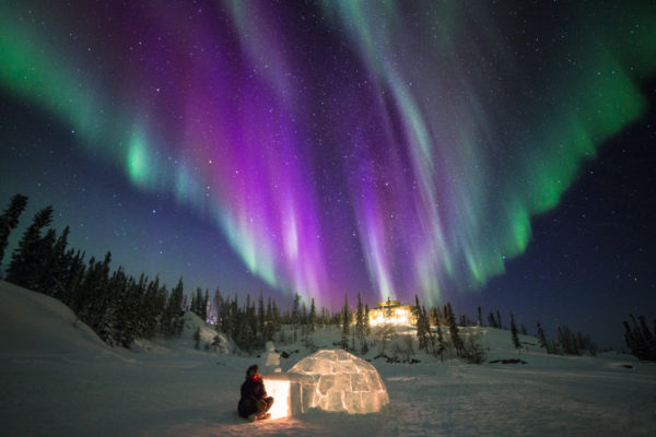 The Northern Lights with Igloo in front
