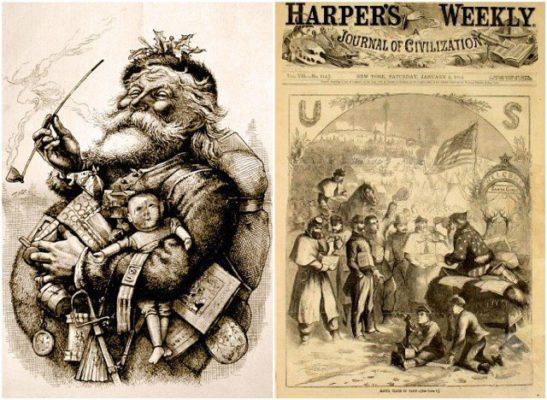 Illustrations of Santa Claus for Harper's Weekly in the 1860s