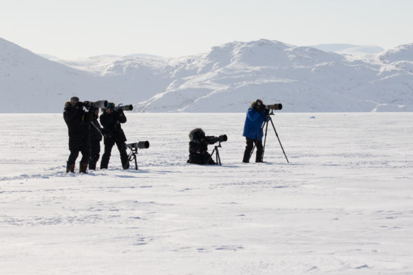 Photographers taking pictures during Arctic tour