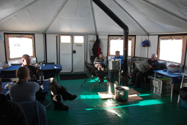 Large dining tent in the Arctic tour
