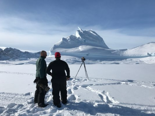 photographing a landscape in the arctic