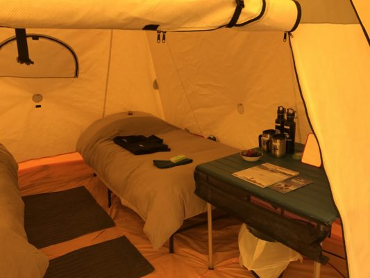 Heated tent in the arctic