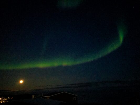 northern lights with full moon