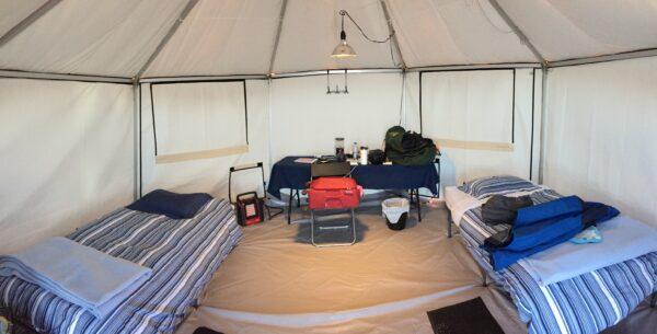 inside an arctic yurt